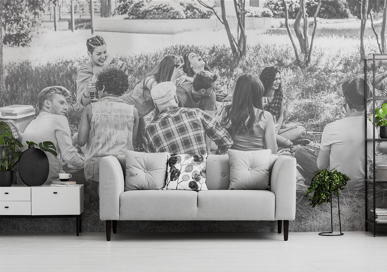 Fototapete Wohnzimmer - schwarz weiß