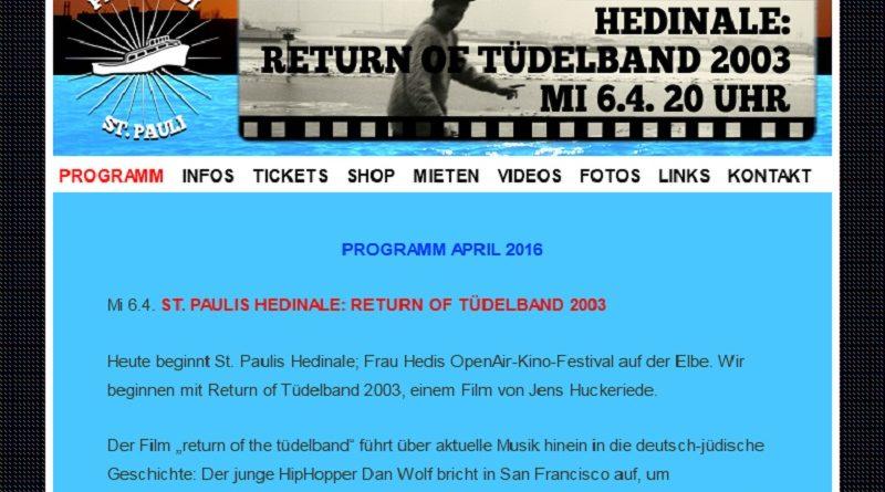 06.04.-05.05.2016: St. Pauli Hedinale Open-Air-Kino auf der Elbe
