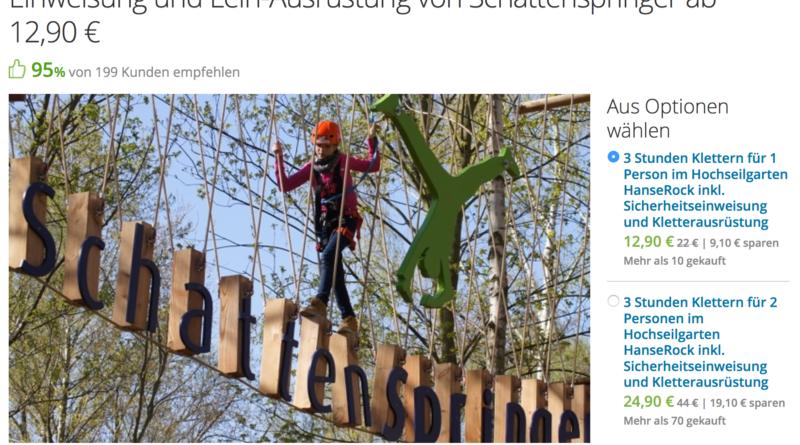 Kletterausrüstung Hamburg : Hochseilgarten hanserock für nur 12 90u20ac