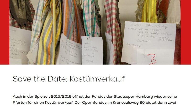 30. und 31. Januar 2016 Kostümverkauf der Hamburgischen Staatsoper
